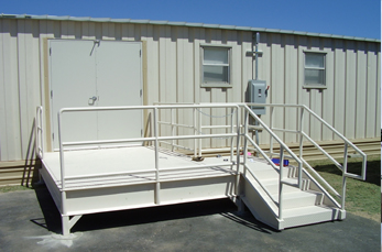 Picture of metal stair rail for a portable building.
